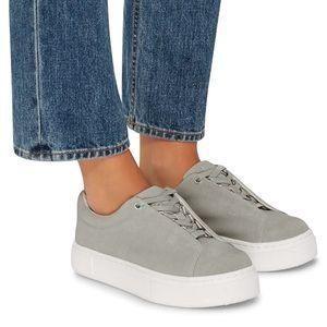 Eytys Doja gray suede lace up platform sneakers